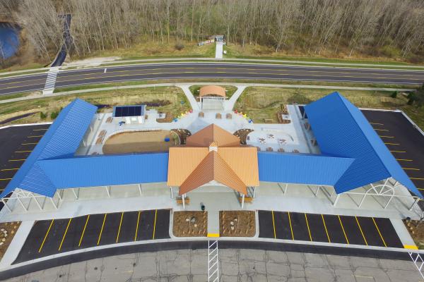 Aerial view of Meridian Township Farmers Market in Meridian MI
