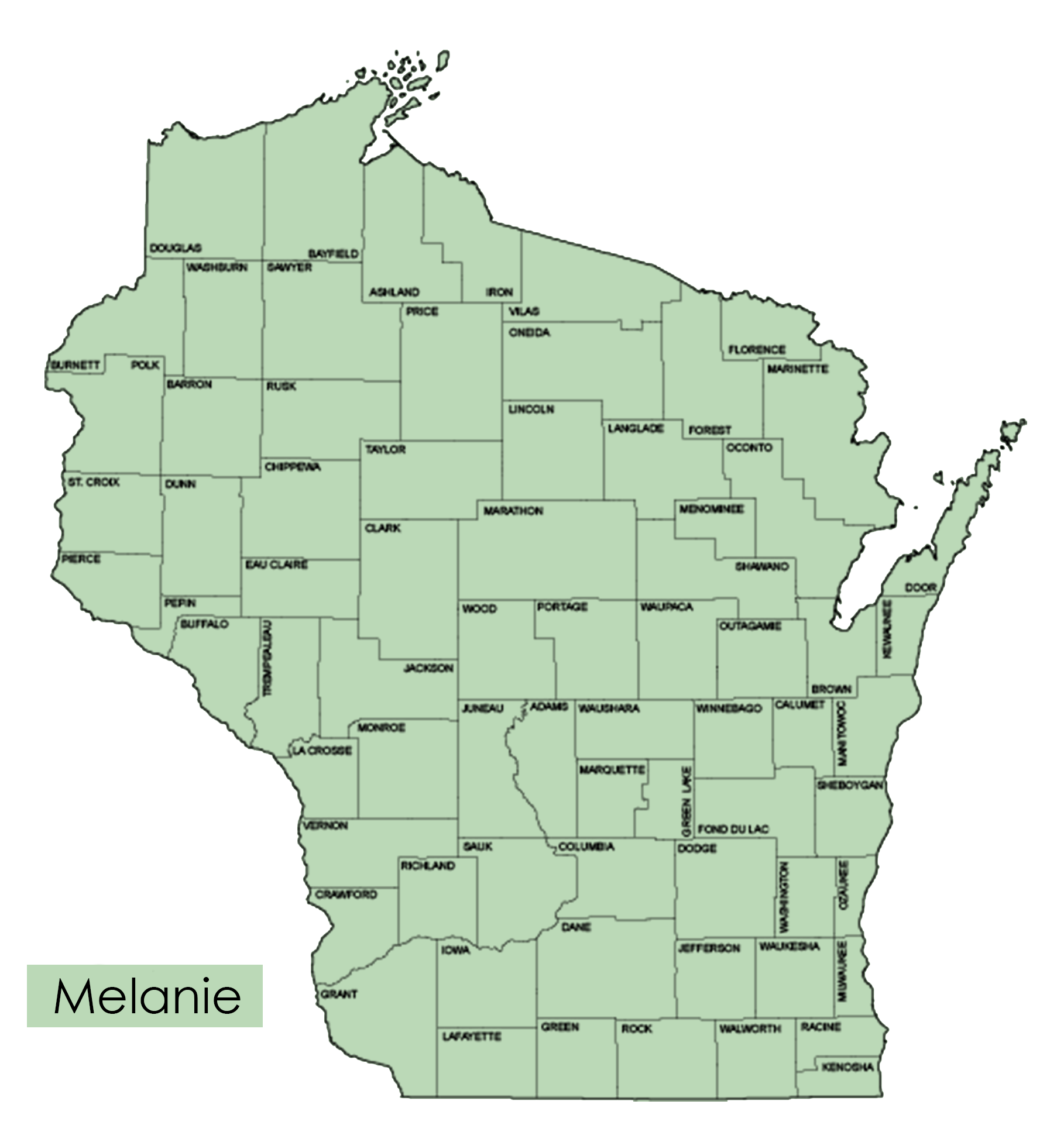 Map of all the countis in Wisconsin